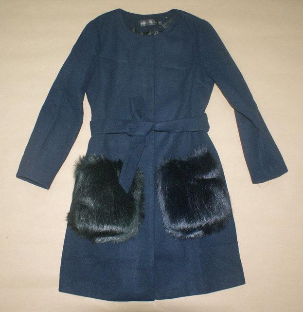 2016 новая мода осень и зима длинные ленты о-образным вырезом карман искусственного меха mex кнопку пальто тонкий пояс женщина куртка