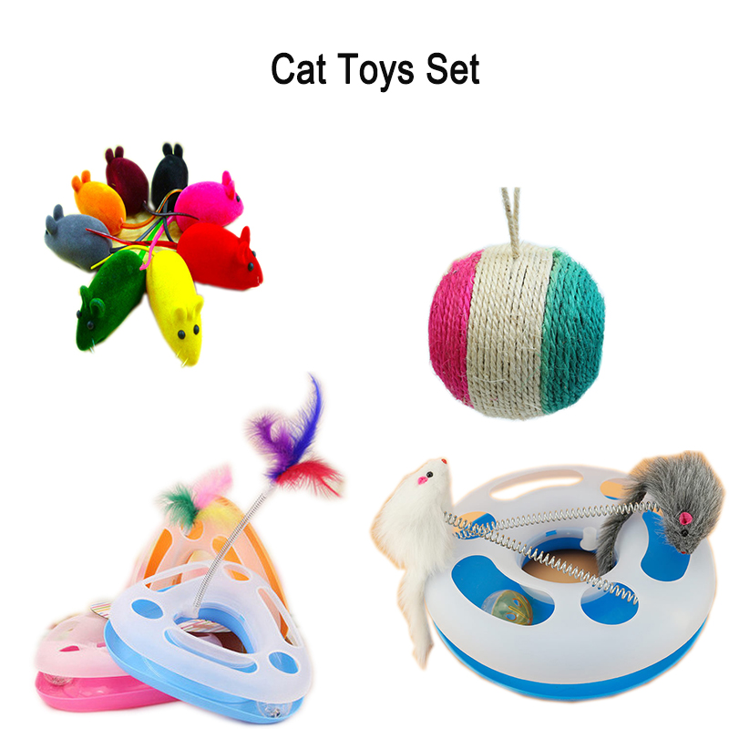 13pcs/set cat toys set Creative Mouse Pet Cat Toys Cheap Mini Funny Mice Animal Playing Toys For Cats scratch board Cat toys(China (Mainland))