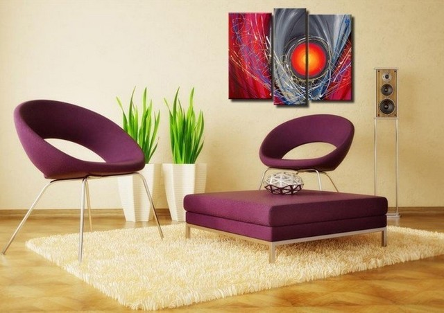 Hand-painted wall art Colorful red sun line abstract Landscape oil painting on canvas 3pcs/set mixorde