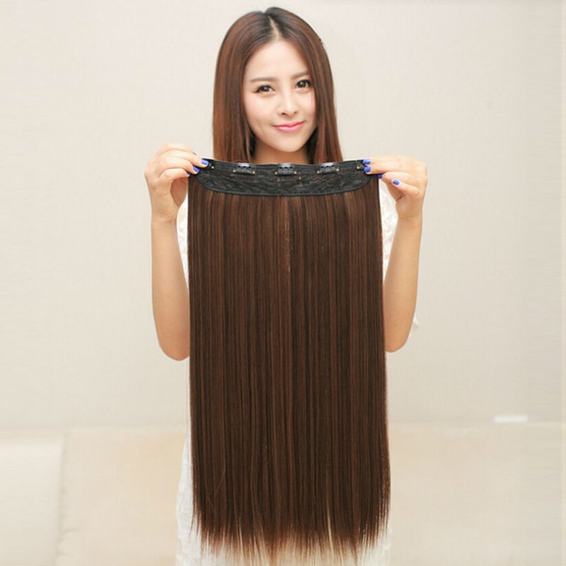 5 clips in Hair Extensions good quality brown black synthetic hair extension 1 piece Cheap popular girl women straight hair pad(China (Mainland))