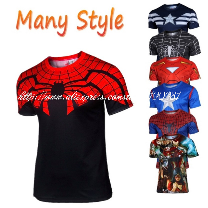 2015 Marvel Super Heroes Avengers Age of Ultron Captain America Batman Tights sport T shirt Men fitness clothing short sleeves(China (Mainland))
