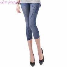 Sexy Women Imitation Jeans Printed Elastic Calf-Length Slim Fit Skinny Stretch Pencil Pants Black/Blue Washed Jeans SL0192