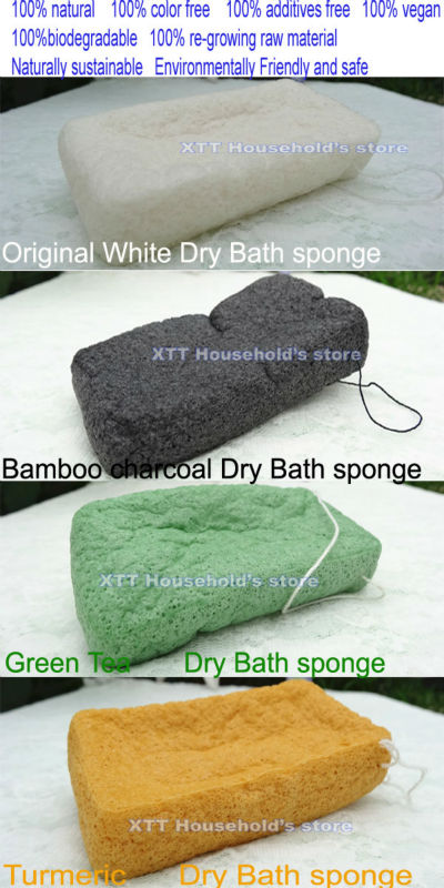 4pcs/lot wholesale 100% Natural Konjac Powder bath Sponge in Dry Packing for body bathing and shower(China (Mainland))