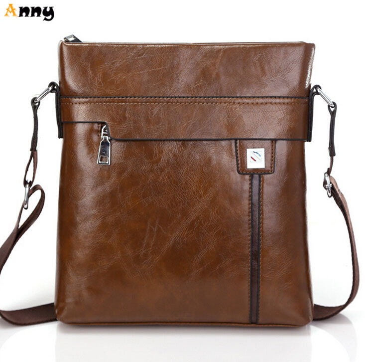 ANNY-vintage luxury brand brown leather man bag,casual simple design mens messenger bag,new arrival mens crossbody bags(China (Mainland))
