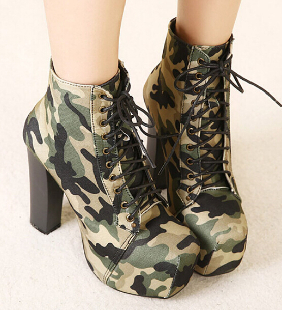 2015 New Fashion Army Green Micaise boots 35-40 Size 4.5cm Platform thick heels Young woman Autumn winter ankle - Tanna store