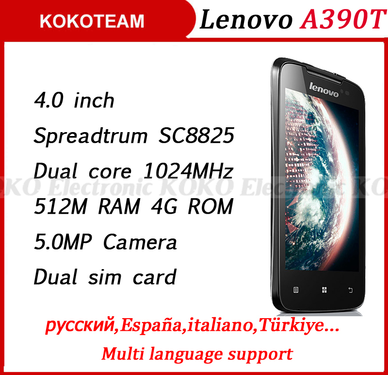 Original Lenovo A390T A390 android smart cell mobile phone smartphone dual core SC8825 dual sim GSM cellphone support russian(China (Mainland))