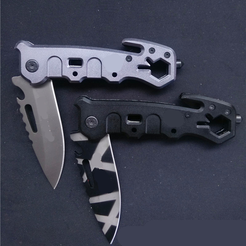 Buy Hot Utility Outdoor Survival Folding Pocket Knife Rescue Camping Knife Tactical Knives Hand Multi Tools Gray Titanium Coat Blade cheap