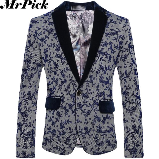 Mrpick 2016 новые цветочные пиджаки мужчины мода свободного покроя костюм Homme шерстяной ...