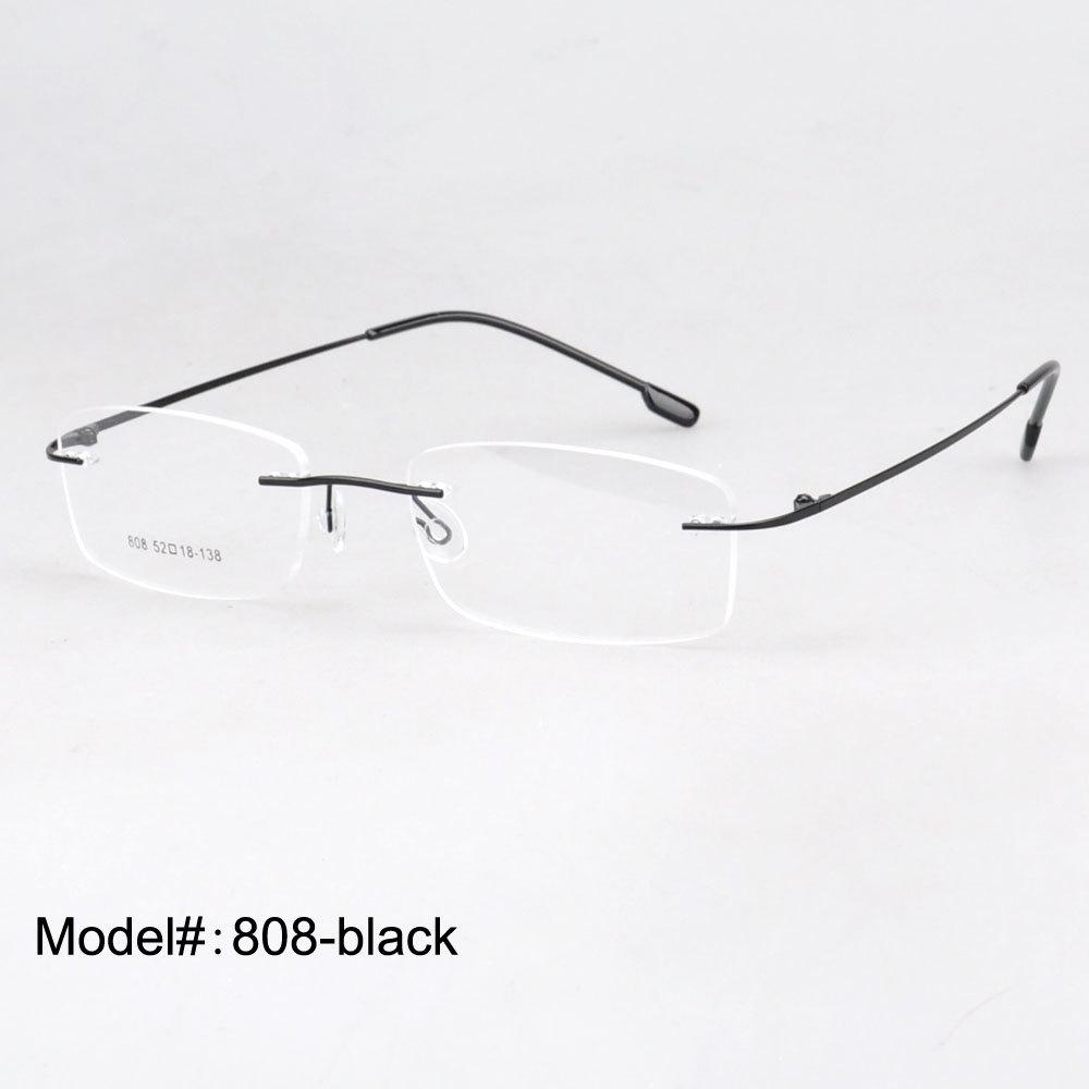 808 wholesale rimless hinged optical frames memory titanium eyeglasses prescription spectacles(China (Mainland))
