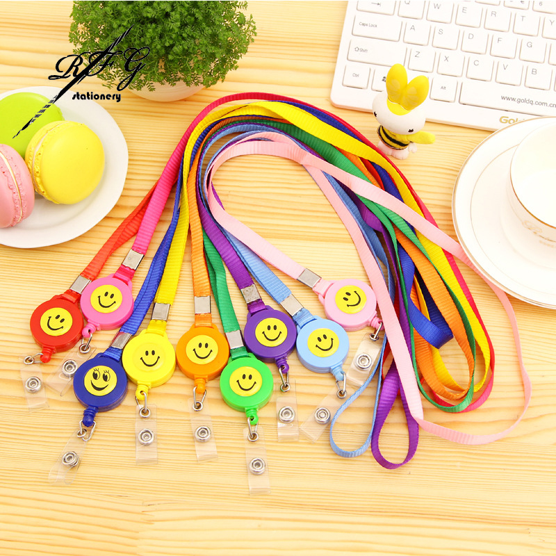 2PCS Compact Smiling Face ID Holder Name Tag Card Key Ring Clip Chain Badge Holder Retractable Pull Lanyard Reel Recoil Belt(China (Mainland))