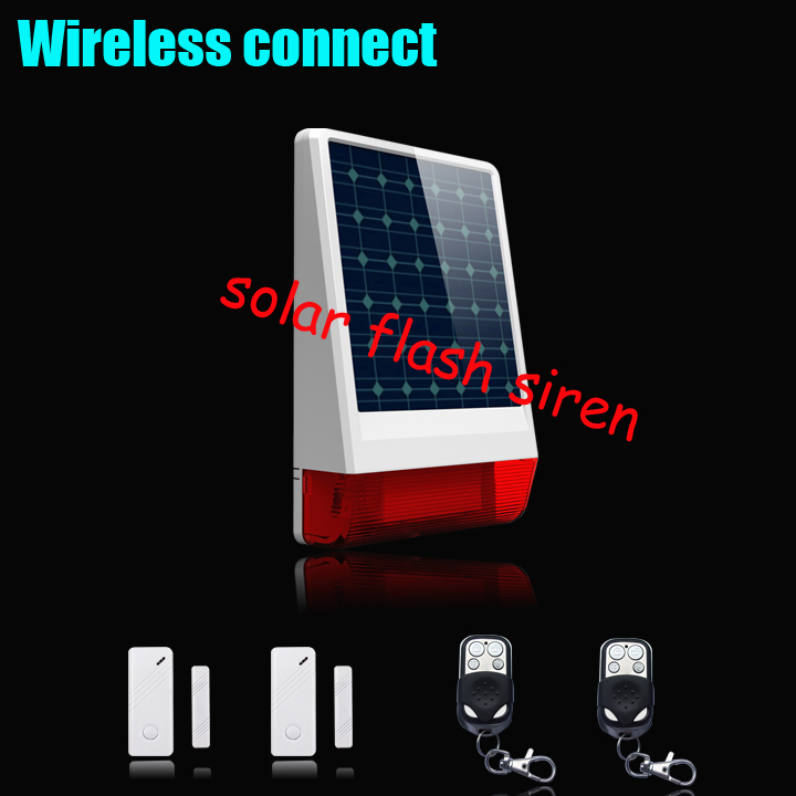 Фотография High quality Solar powered siren, big strobe siren alarm with LED flashing response sound,Waterproof +outdoor PIR sensor