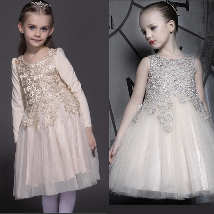 spring autumn high quality princess dress baby girls gold lace dresses long sleeve cotton paty star wedding cute <br><br>Aliexpress