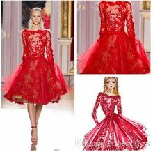 Zuhair Murad Lace Cocktail Dresses Designer Short Red Long Sleeves Sheer Beads Party Homecoming Dresses For Girl;s(China (Mainland))
