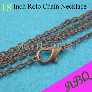 45cm (18 inch) Antique Copper Rolo chain necklace,3mm thick 18 Inch Vintage Style Rolo Chains with Lobster Clasp Connected(China (Mainland))