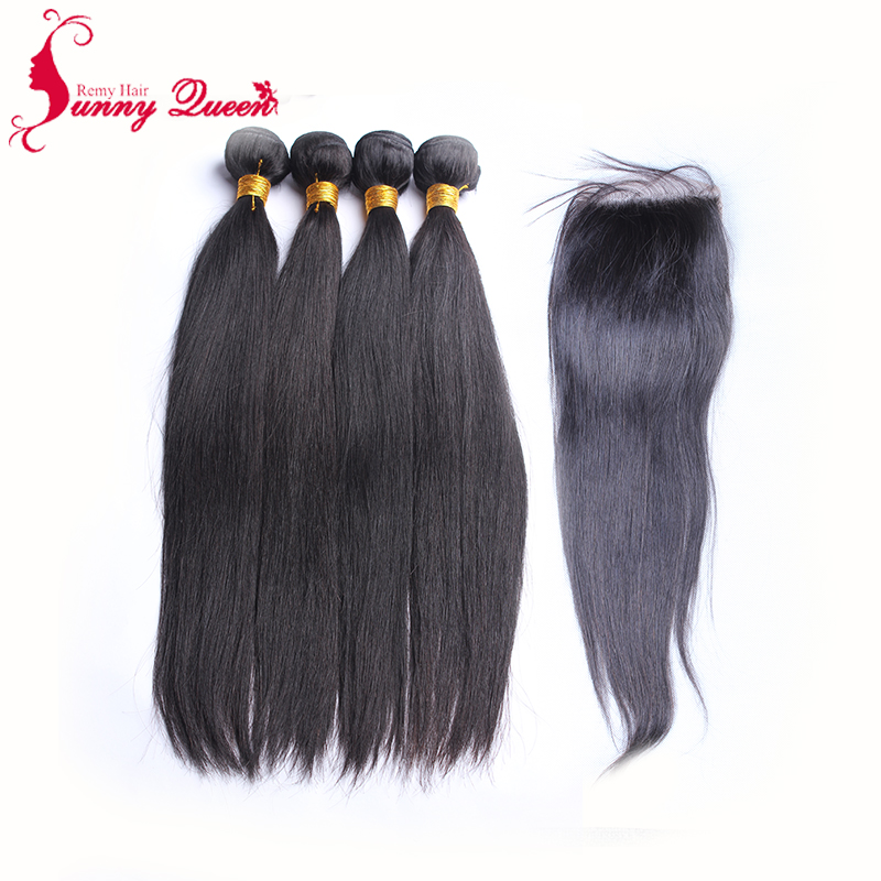 Malaysian Virgin Hair With Closure 4PCS Lot Lace Closure with Bundles Malaysian Straight Hair Weft with closure Sunny Queen Hair<br><br>Aliexpress
