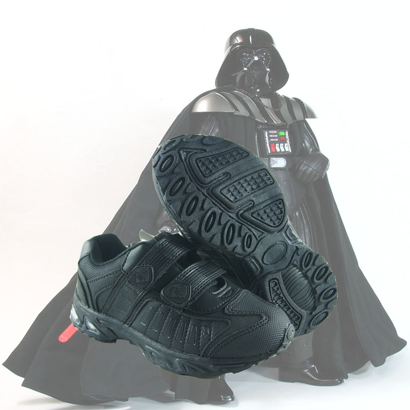 Star wars 2015 black PU leather flashing light sole boys sneaker autumn winter casual cosplay shoes