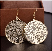 2015 Fashion brand long earrings Vintage dangler earrings High quality Frosted trees Drop Earrings for women Jewelry(China (Mainland))