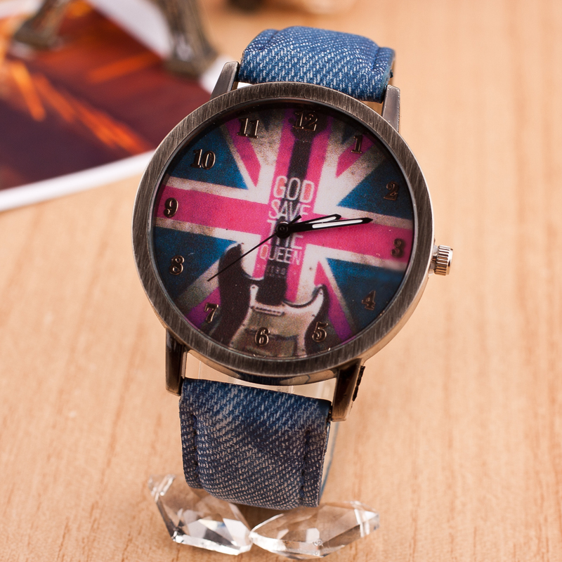 2016 Brand Vintage Guitar Fashion Casual Quartz Watch Women Jack Flag Jean Fabric Leather Watches Relogio Feminino Hot Clock - Shine Factory store