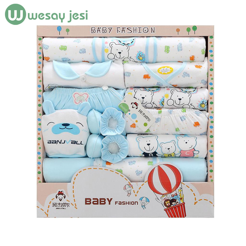 18pcs/set newborn girl clothes 0-3 months long sleeve cotton new born baby boy clothing gift sets suit summer infant clothing(China (Mainland))