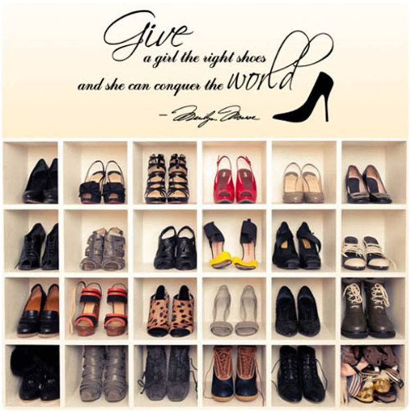 1pc Give a girl the right shoes and she can conquer the World High-heeled shoes Vinyl Wall Stickers Art Mural Home Office Decor(China (Mainland))