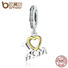 BAMOER Classic 925 Sterling Silver I Love MOM Heart Pendants fit Bracelets for Women S925 Fine Jewelry SCC049(China (Mainland))