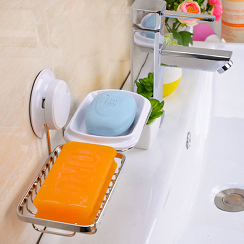 Double layer suction cup soap box IKEA creative double grid soap box wall hanging type stainless steel water and fertilizer soap(China (Mainland))
