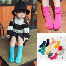 Candy color kids socks 75% cotton children socks Winter Socks Girl and Boy Double needle wool socks Free shipping(China (Mainland))