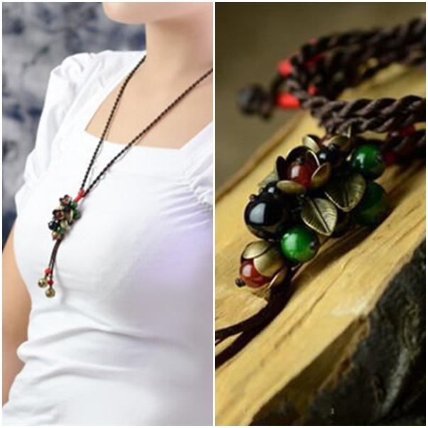 Trendy Handmade Long Sweater Necklaces DIY Ethnic Jewelry Signature Cotton Copper Leaf Vintage Nature Agate Pendants Necklace(China (Mainland))