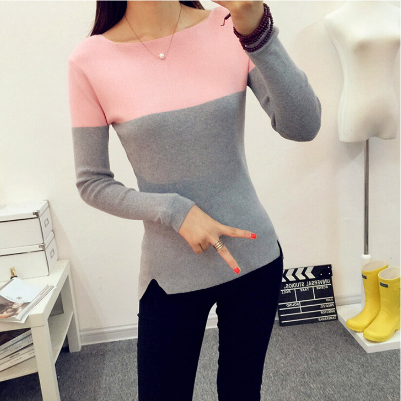 Ladies Christmas Sweater 2015 Winter New Slash Neck Cashmere Sweater Women Long Sleeve Warm Knitted Pullover Sweater Pull Femme(China (Mainland))