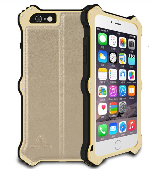 Love Mei Brand Luxury Metallic leather Phone Cover Case For iPhone 6 4.7 6 Plus 5.5 MK2 Metal Aluminum Waterproof Powerful Case(China (Mainland))
