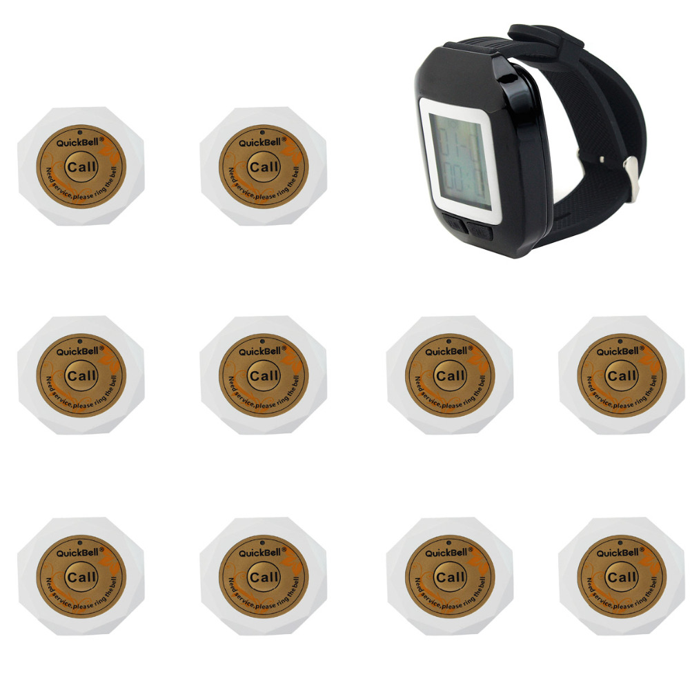 Wireless Pager Restaurant Calling System 1500M 433.92MHz For Club with 10 White Call Button and 1 Black Watch Receiver F3131(China (Mainland))