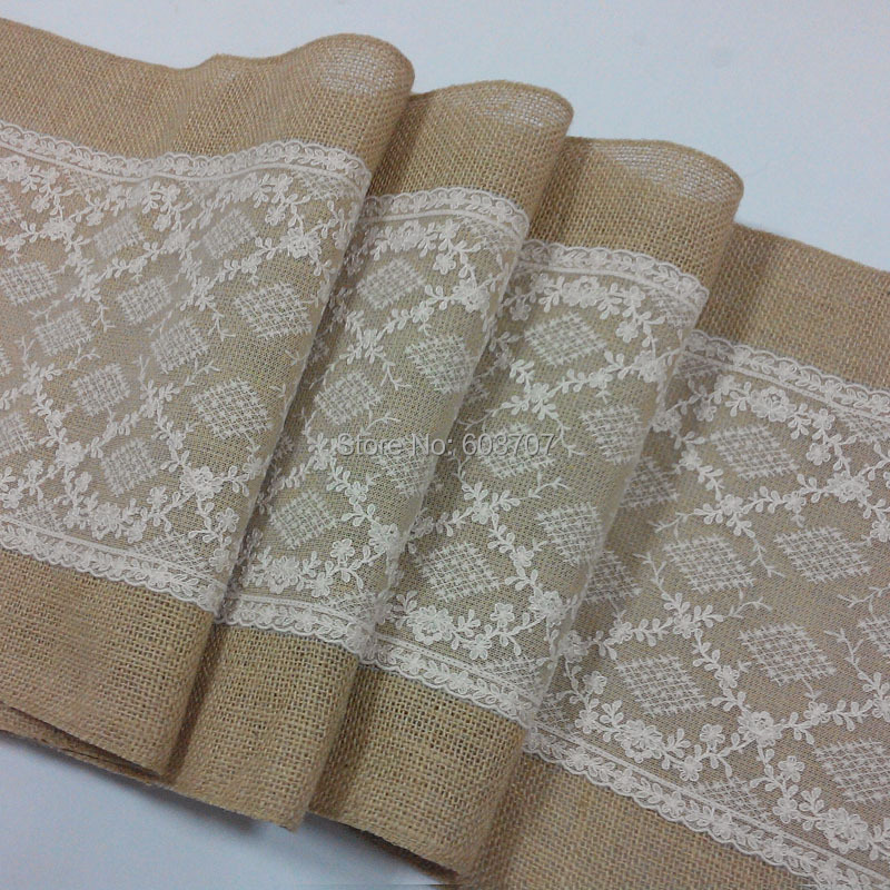 Burlap and lace table runner for rustic wedding/ home/ banquet(China (Mainland))
