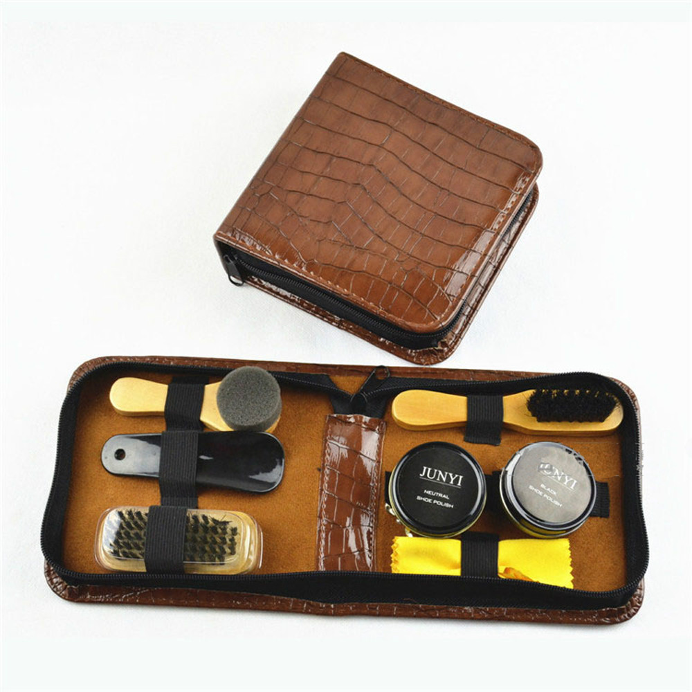 Leather Case Shoe Care Kit Shine Black & Neutral Polish Brushes Set for Boots Shoes Sneakers Cleaning(China (Mainland))