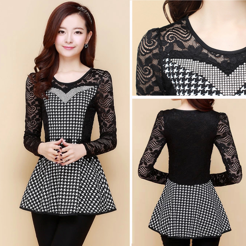autumn 2014, han edition, round collar lace, long sleevebase shirt , joker small unlined upper garment - shenzhen SamHot Technology Co.,Ltd. store