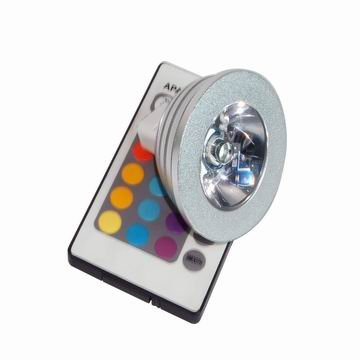 1*3W MR16 RGB led spot light with remote controller;P/N:SZSXDT-SP-3W
