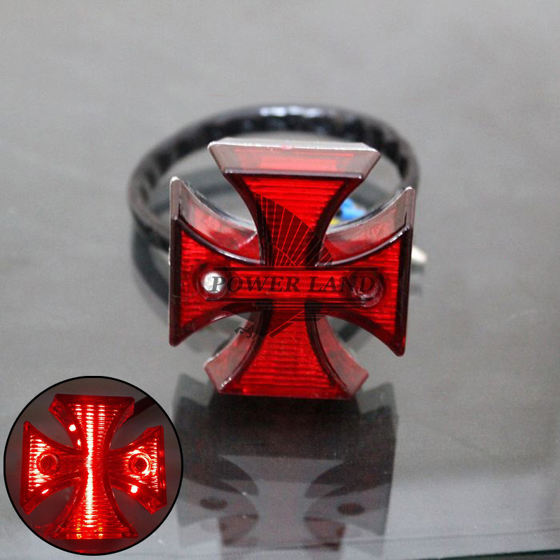 Free Shipping New Red Lens 12V Motorcycle Mini Universal Chrome Maltese Cross LED Tail Brake Rear Warn Light Red Univerasal Fit(China (Mainland))