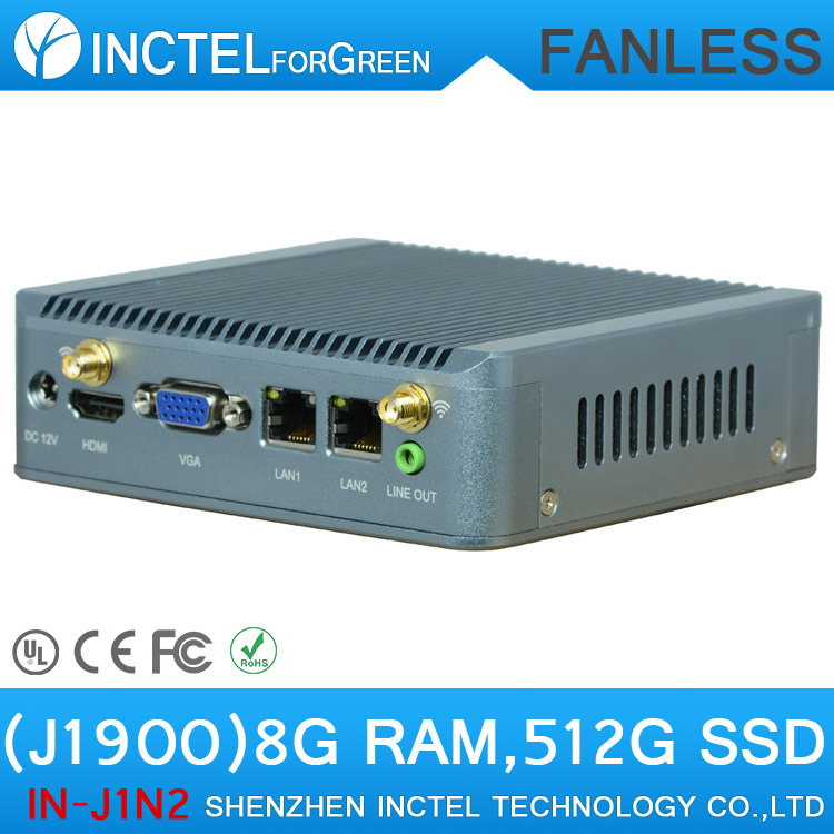 J1900 Nano Net Computer 2* rj45 Ethernet USB3.0 Support wifi 3G Mini Quad Core Nano PC with 8G RAM 512G SSD(China (Mainland))