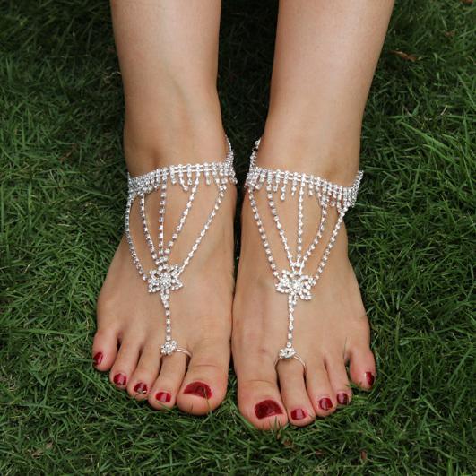 foot bracelet Bridal accessories jewelry foot Women sexy rhinestone barefoot sandals bracelet beach foot jewelry