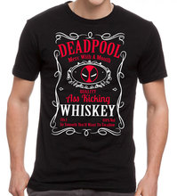 DEADPOOL WHISKY t shirt men Antihero Drinking Mash Up Jailed DeadPool cotton short print tee US plus size S-3XL