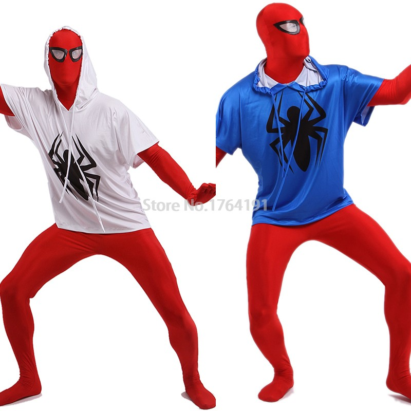 Halloween White and Blue Lycra Spandex Full Body Zentai Suit Superhero Superman Suits Cosplay Spiderman Costumes(China (Mainland))