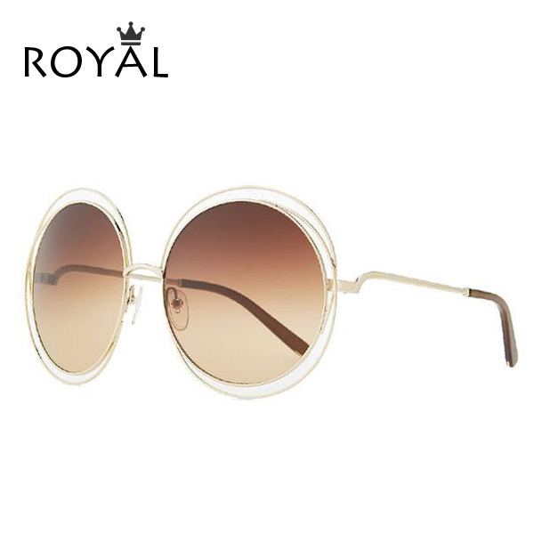 2015 NEW High quality Elegant Round Wire Frame Sunglasses Women mirror / gradient Glasses shades Oversized Eyeglasses  ss076(China (Mainland))