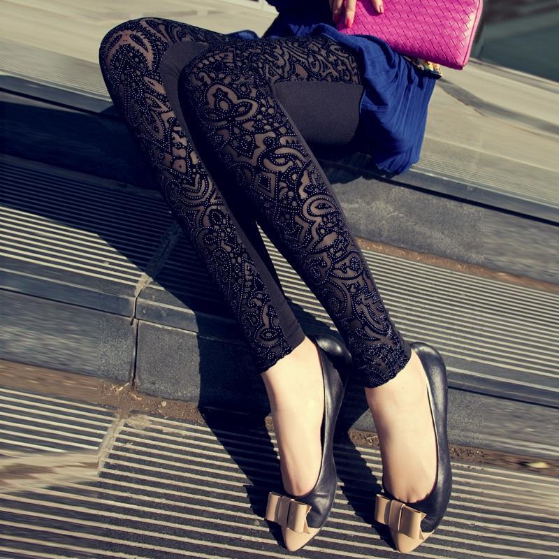 2017 spring autumn women trousers slim black lace leggings fashion leggins - Guangzhou friendly clothing co., LTD store