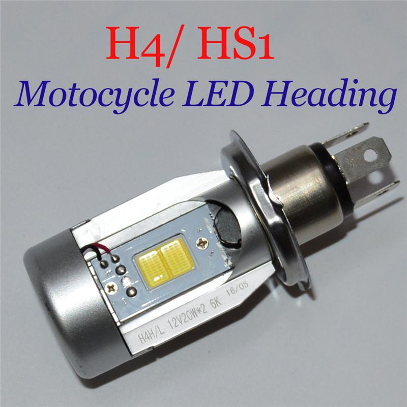 20W*2 2000LM*2 Motorcycle LED Headlight H4 hi lo Bulb HS1 COB Head lamp Standard High Low Beam DC12V 6500K White Moped Autobike(China (Mainland))