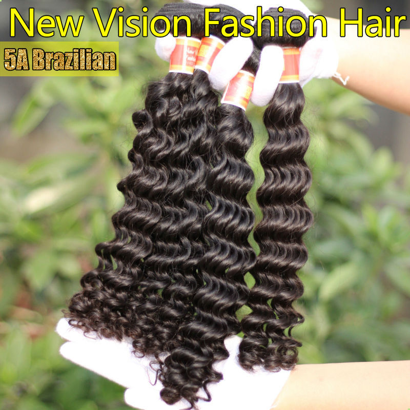 Most popular brazilian deep wave for sale 8-26 inch human hair extensions low price paypal free shipping(China (Mainland))