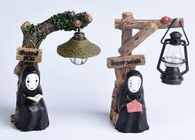 Hot No Face Led Night Light Doll Japanese Anime Studio Ghibli Kaonashi Miyazaki Hayao Spirited Away Resin Action Figure Kids Toy