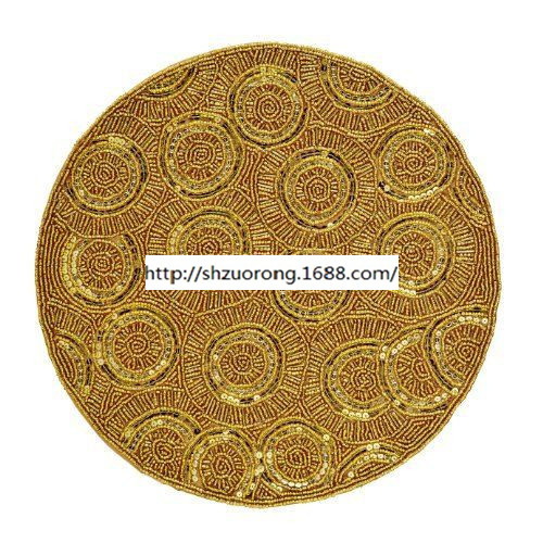 High Quality western pad round beaded placemat posavasos vintage gold dining table accessories kitchen pad(China (Mainland))