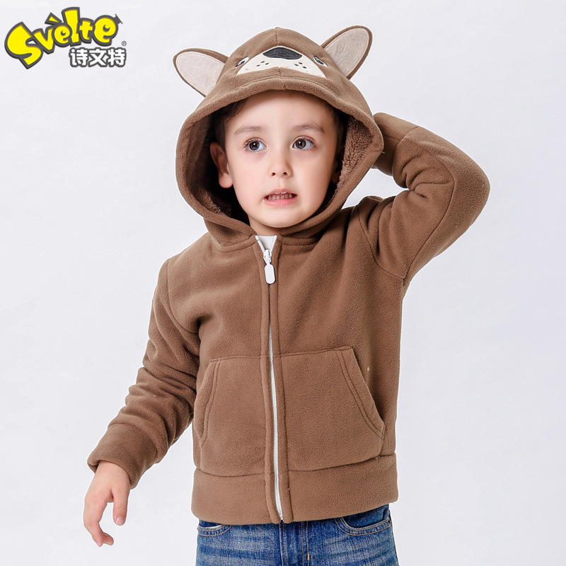 2-8 Years Old Baby Boys Winter Jacket 2016 New Fashion Cartoon Thick Fleece Hooded Boys Outerwear Warm Coat(China (Mainland))