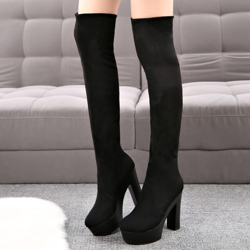 2015 New Autumn And Winter Over Knee High Heels Boots Thick Heel Shoes Woman Platform Black Wedges<br><br>Aliexpress