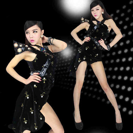 2015 FREE SHIPPING Sexy female singer costume ds costume dance modern clothes white puff skirt princess the loading(China (Mainland))