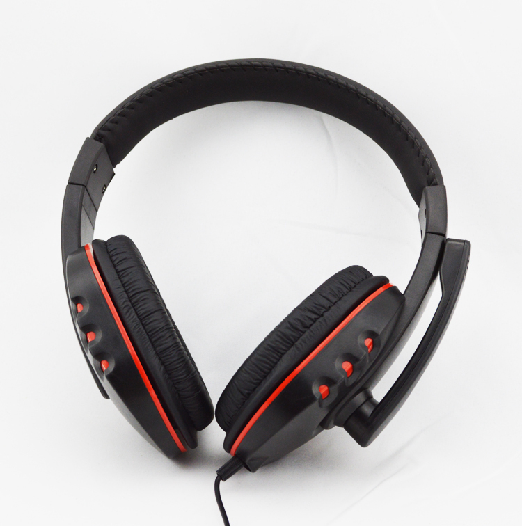 New Headband Luxury Gaming USB Headset Headphone Earphone with Micphone Player for PS3/PC Black and Red Free Shipping(China (Mainland))